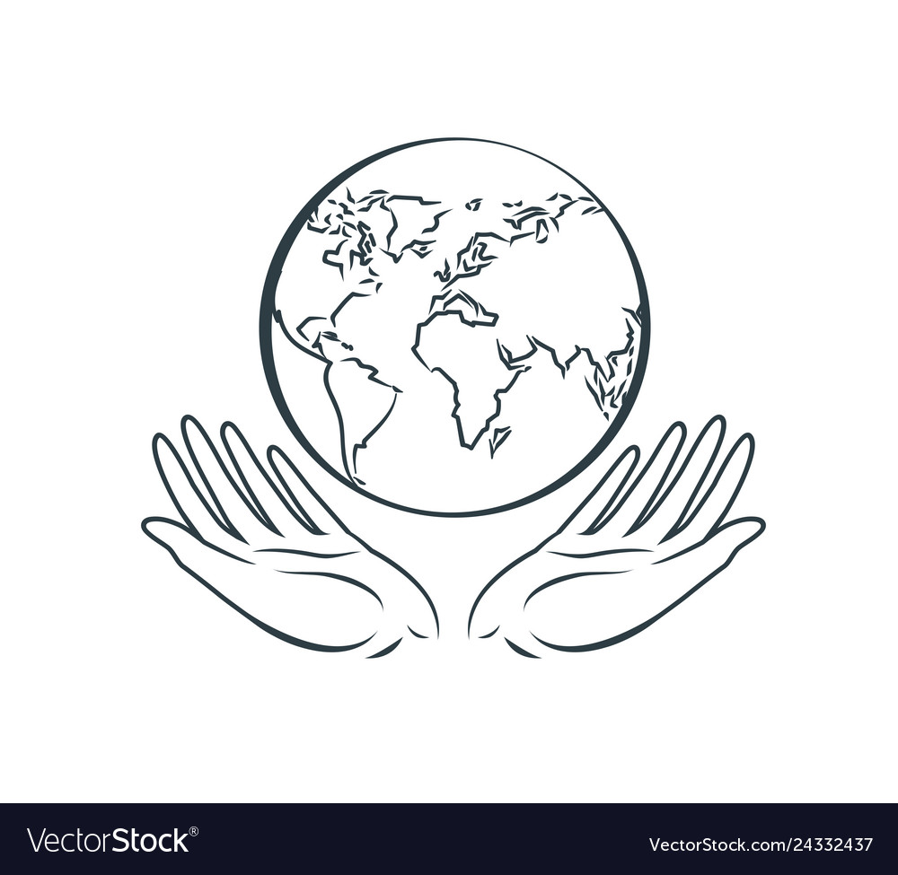 Globe in hands logo earth day nature protection