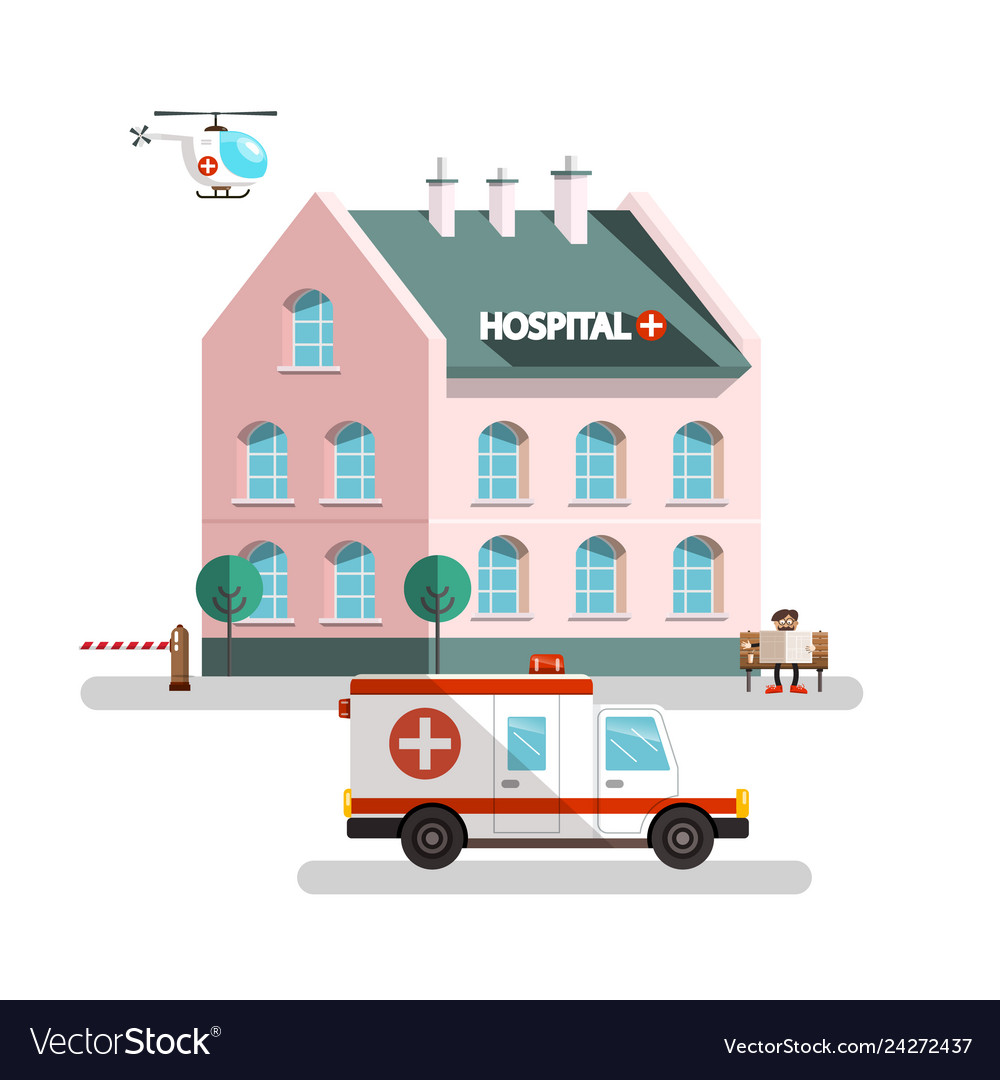 Hospital building with ambulance car helicopter