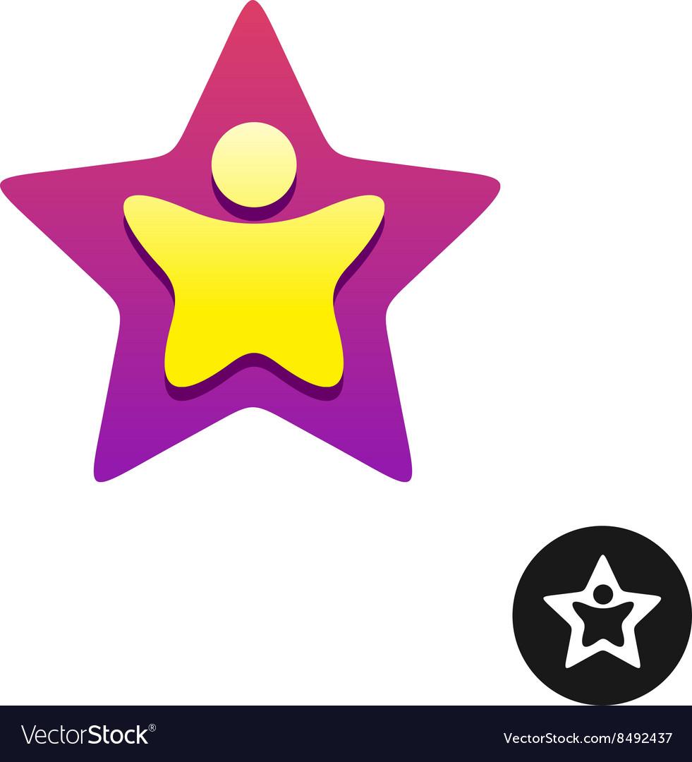 Man silhouette inside a star shape colorful logo