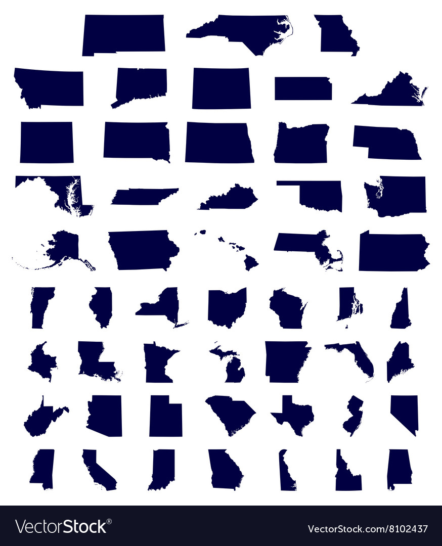 Set us states maps vector
