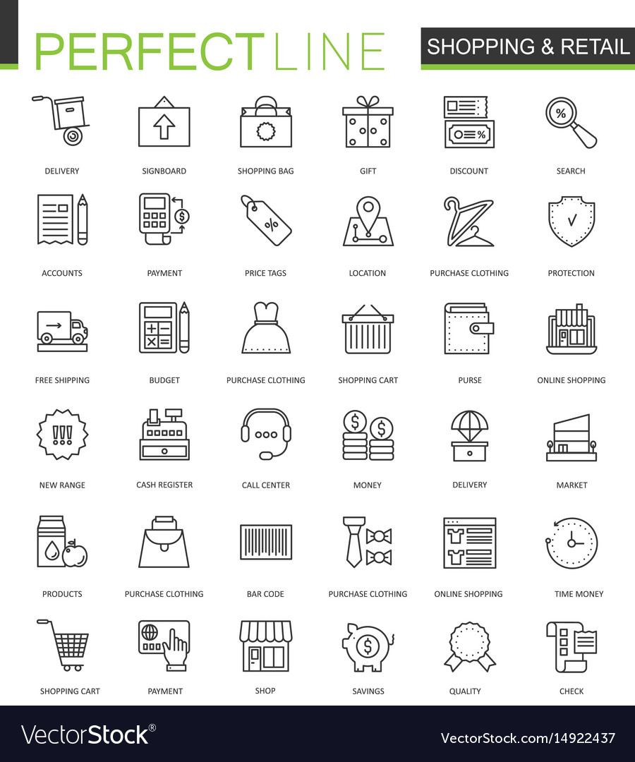 Shopping and retail thin line web icons set