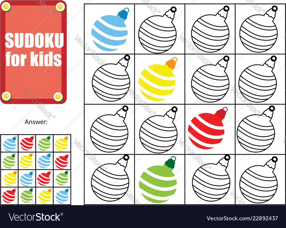 Sudoku for children kids activity sheet new year