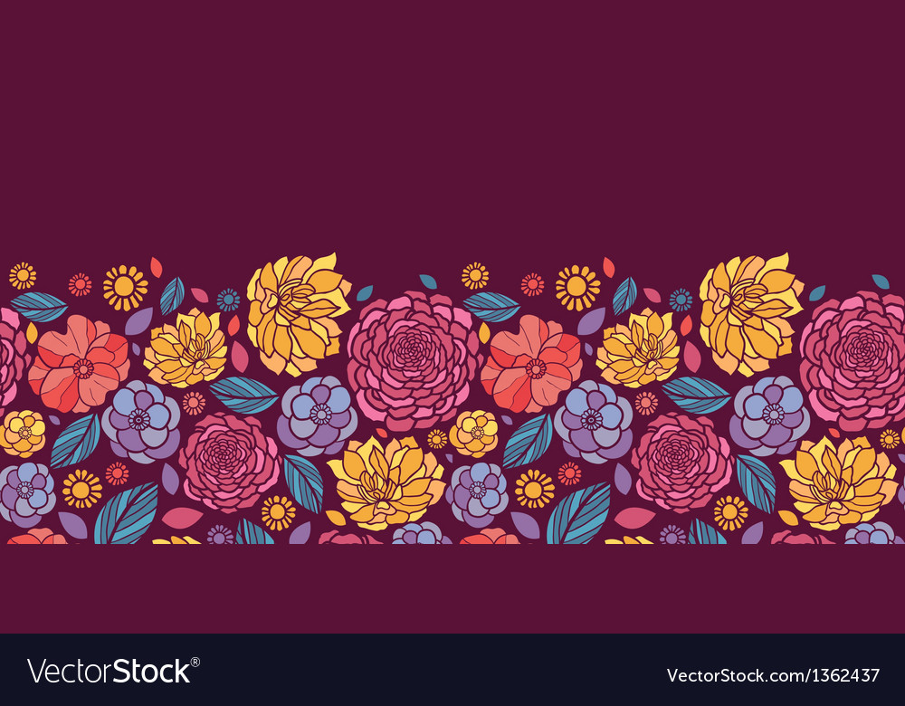 Summer flowers horizontal seamless pattern vector image