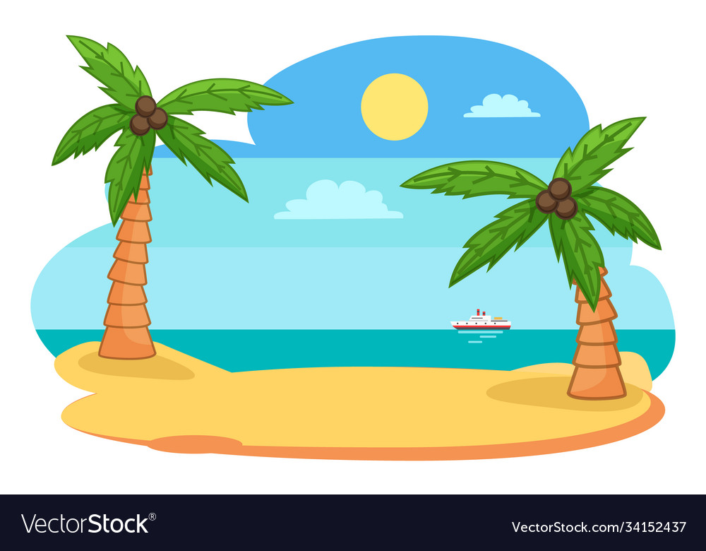 Tropical exotic view with island shore or beach