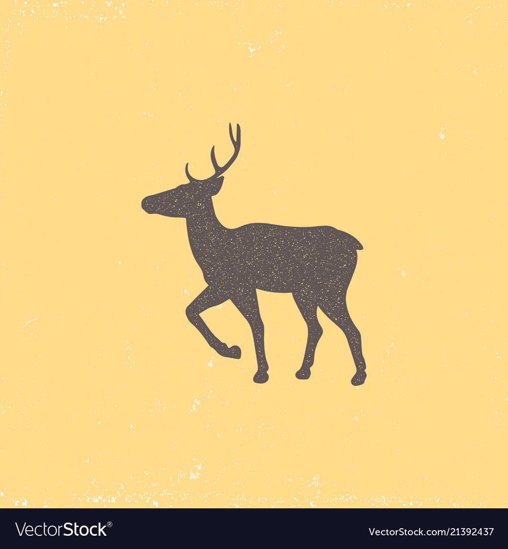 Vintage brown deer emblem on a yellow background