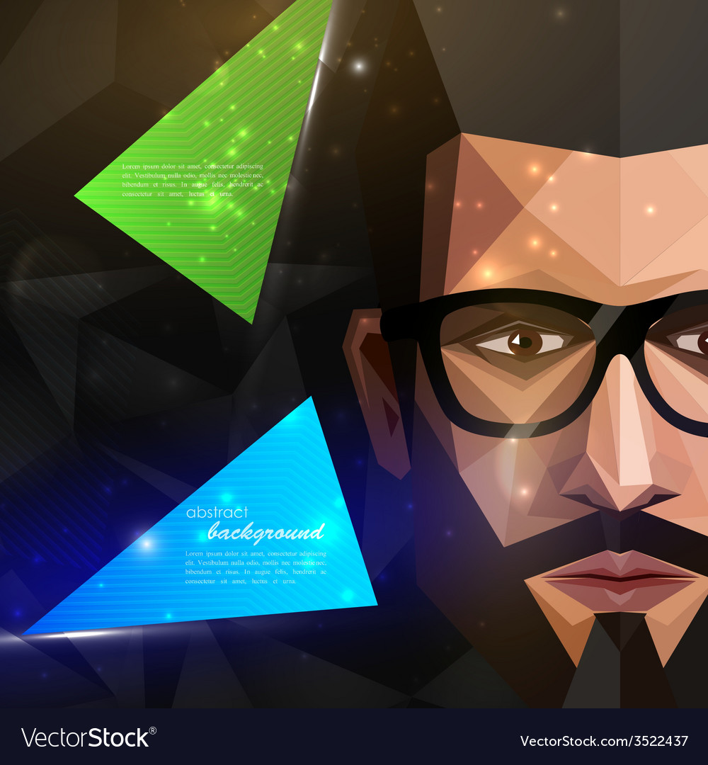 With man face in polygonal style modern poster