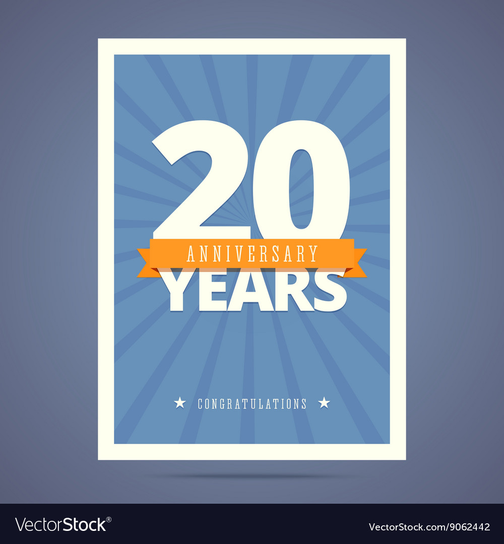 20 year anniversary card poster template vector image