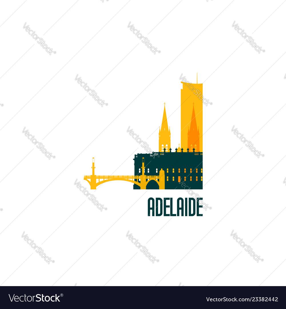 Adelaide city emblem colorful buildings