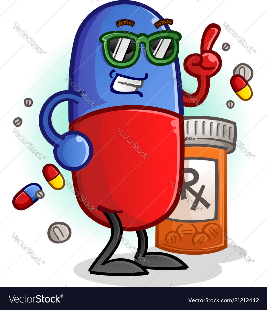 Chill pill cartoon character