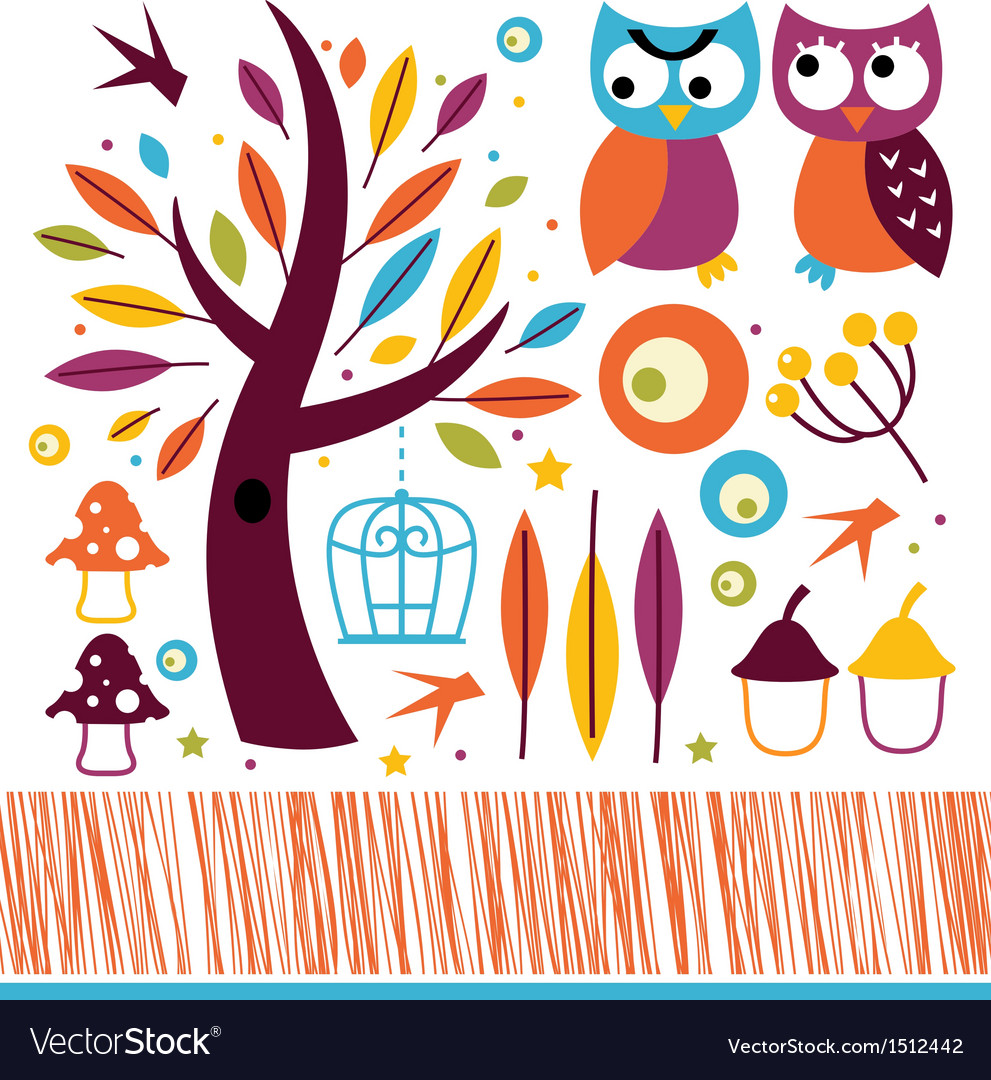 Cute autumn owls and design elements