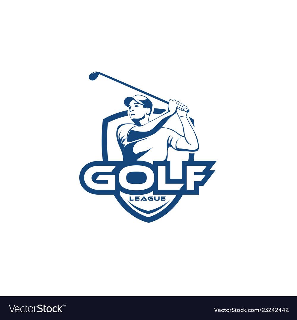 Golf man league team logo template