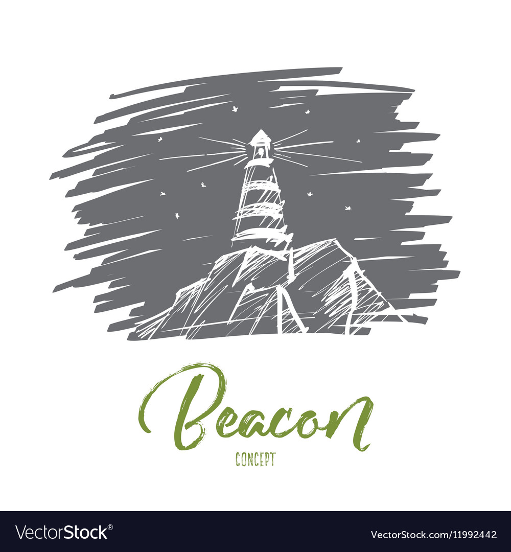 Hand drawn beacon lighting at night lettering