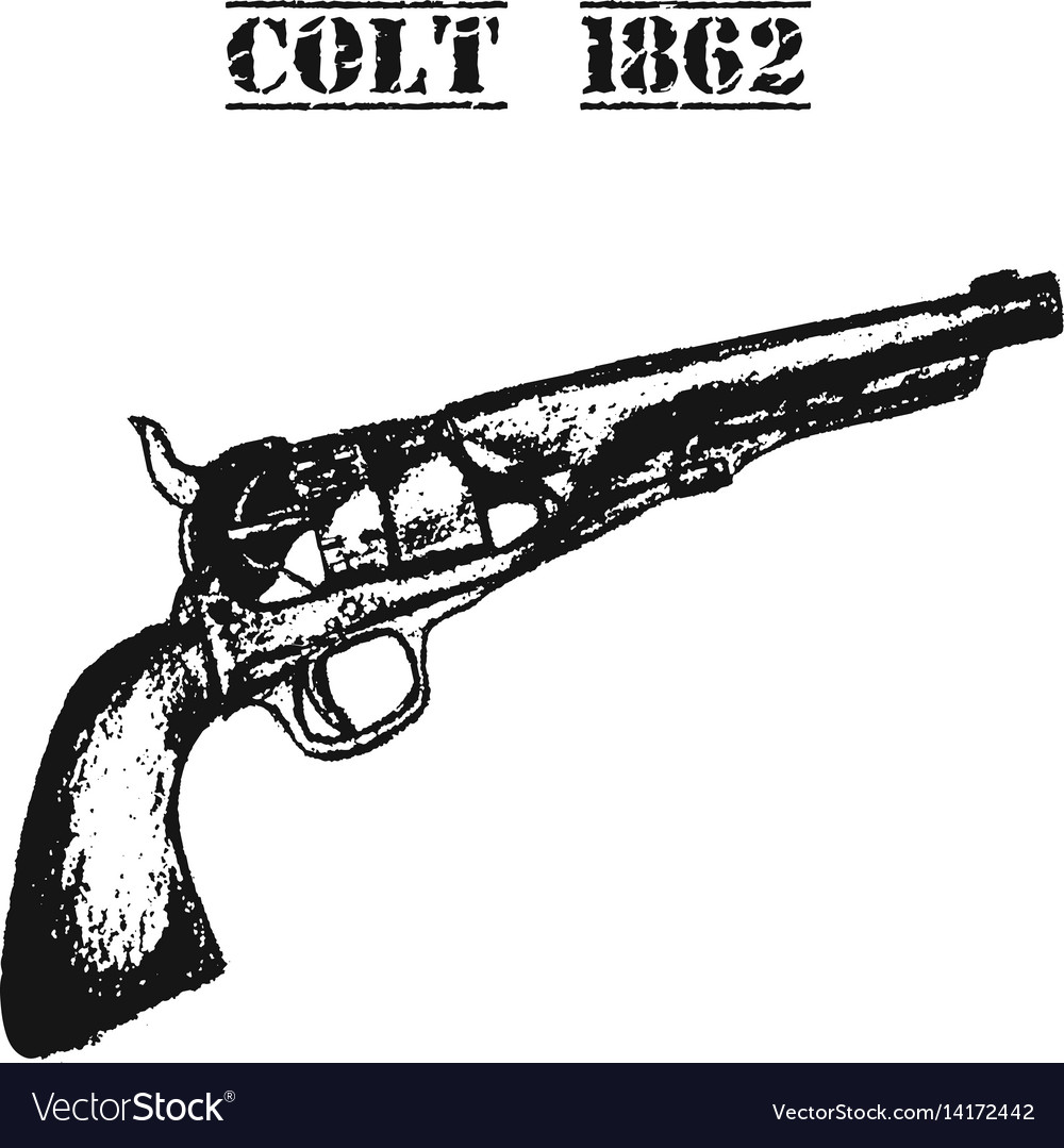Hand drawn retro gun pistol vector image