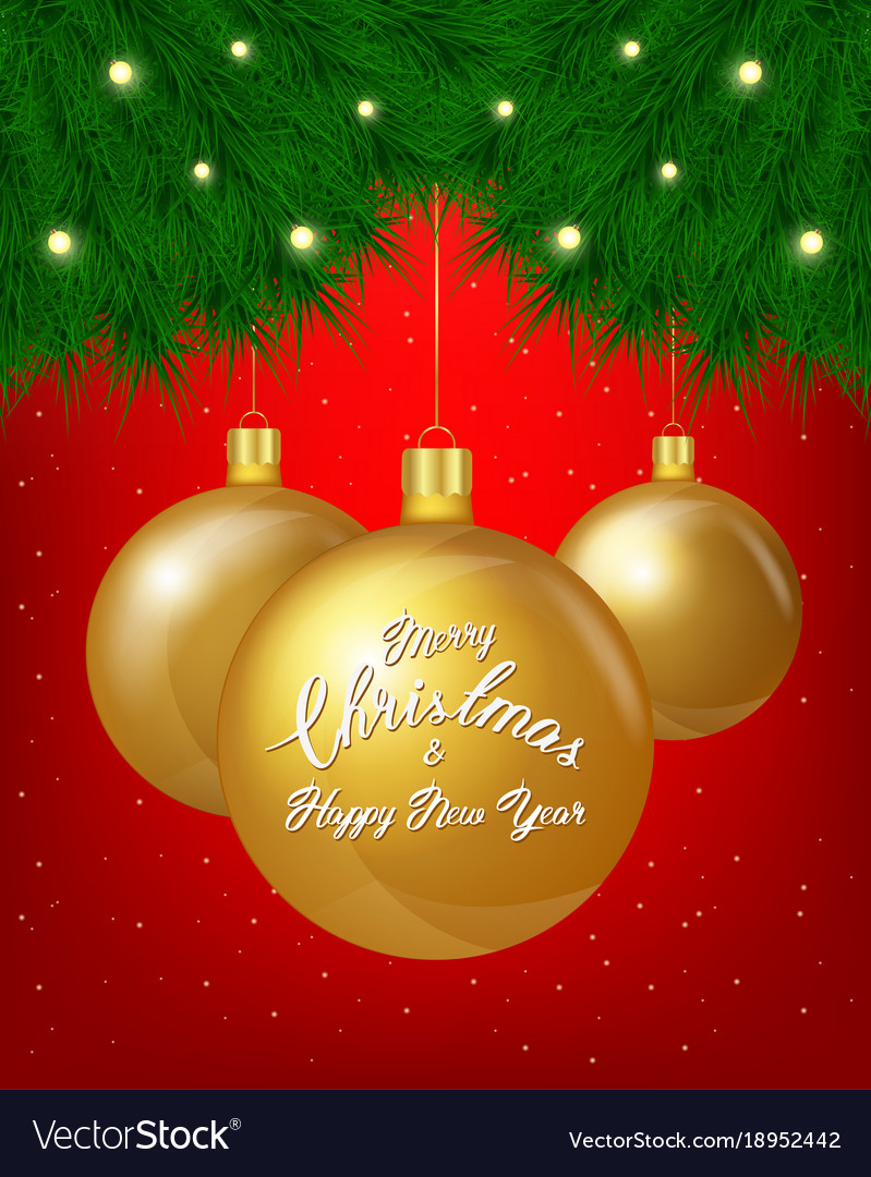Merry christmas greeting card of golden Royalty Free Vector