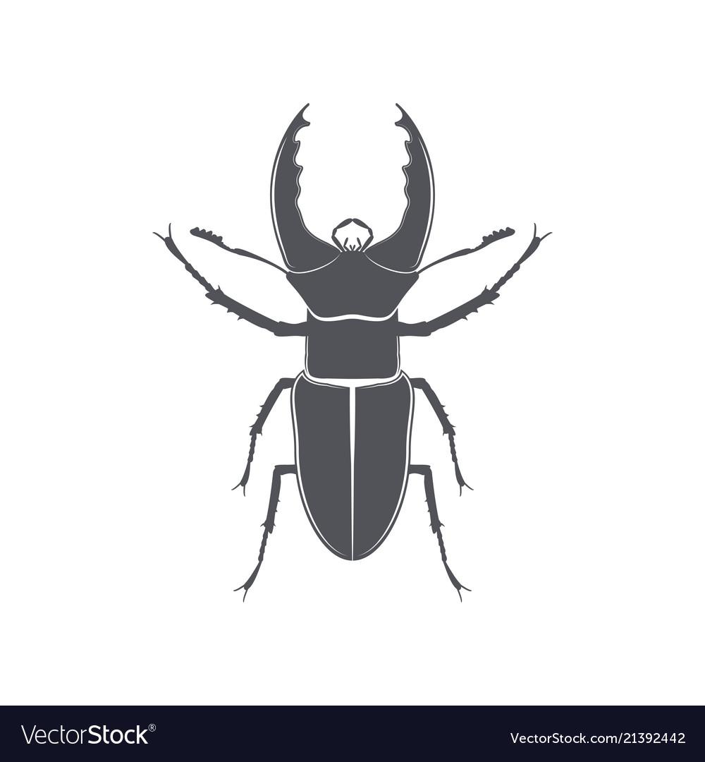 Monochrome emblem of deer beetle isolated