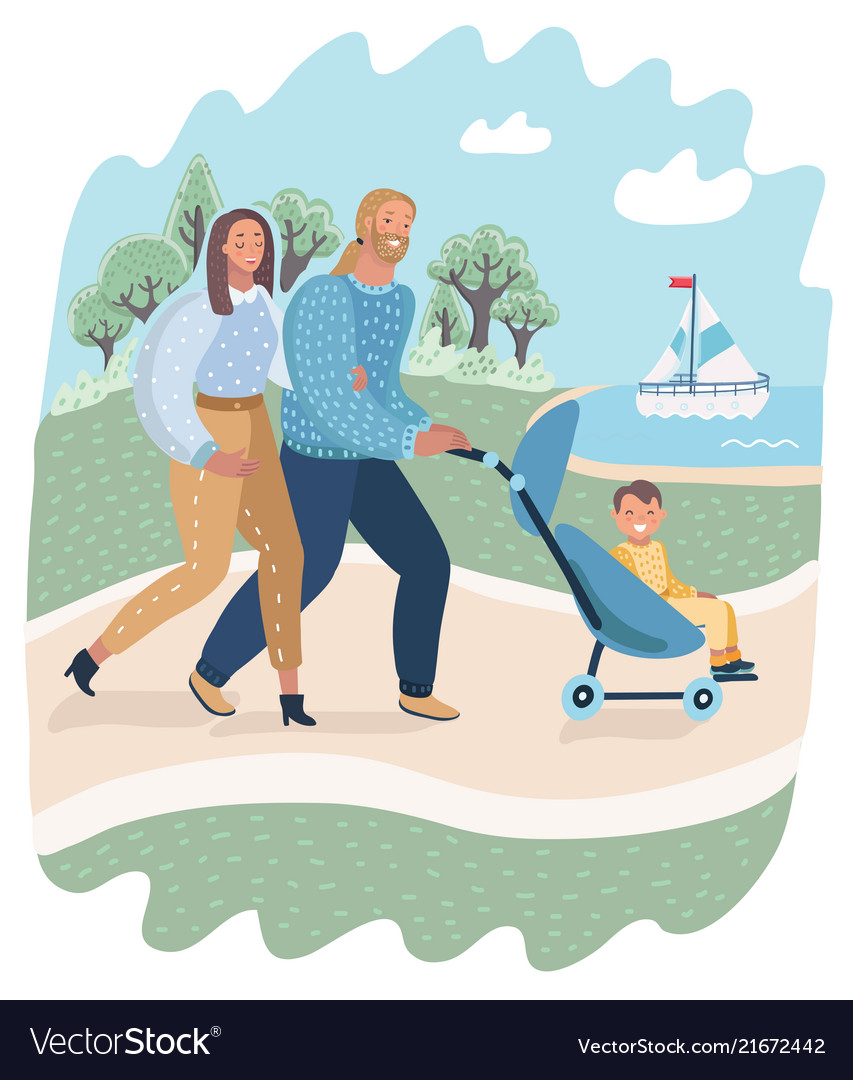 Parents and child in pram or carriage walk in park