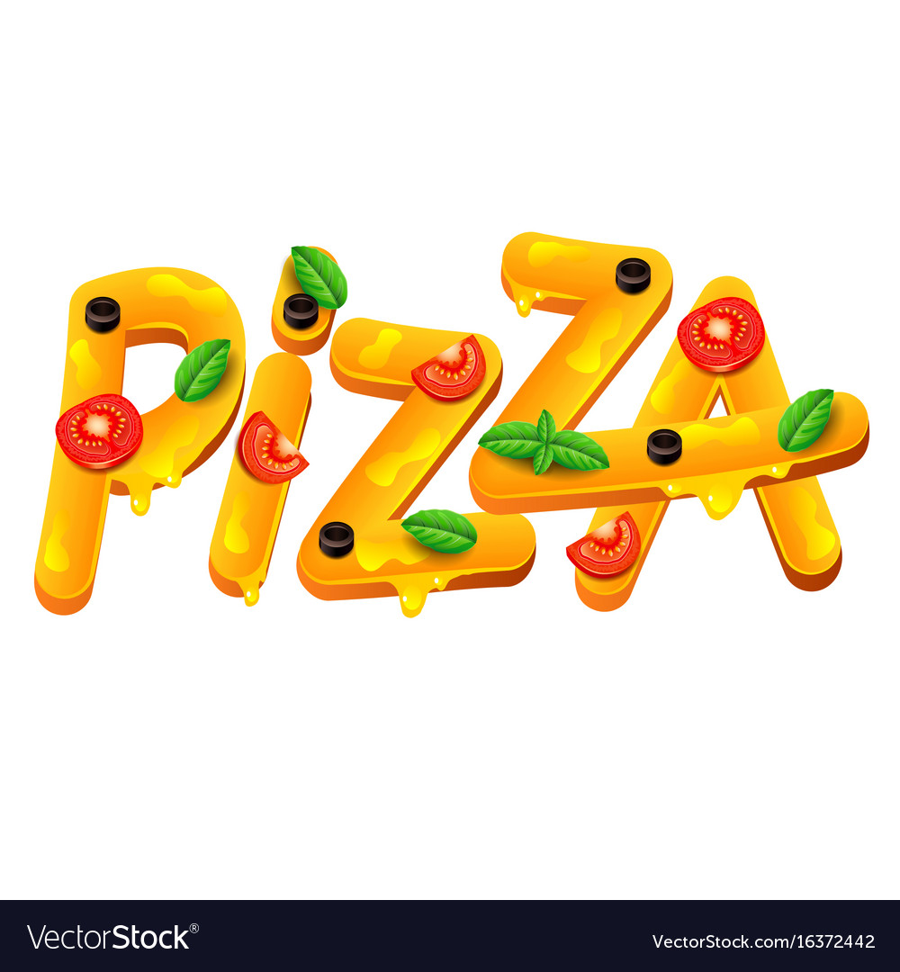 Pizza word isolated on white vector image