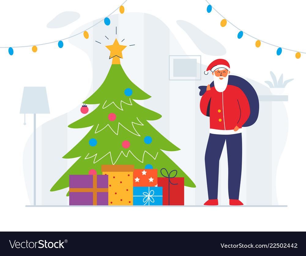 Santa claus with gift bag and christmas tree