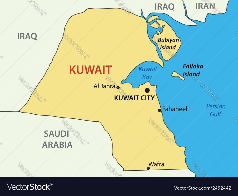 State of Kuwait map Royalty Free Vector Image