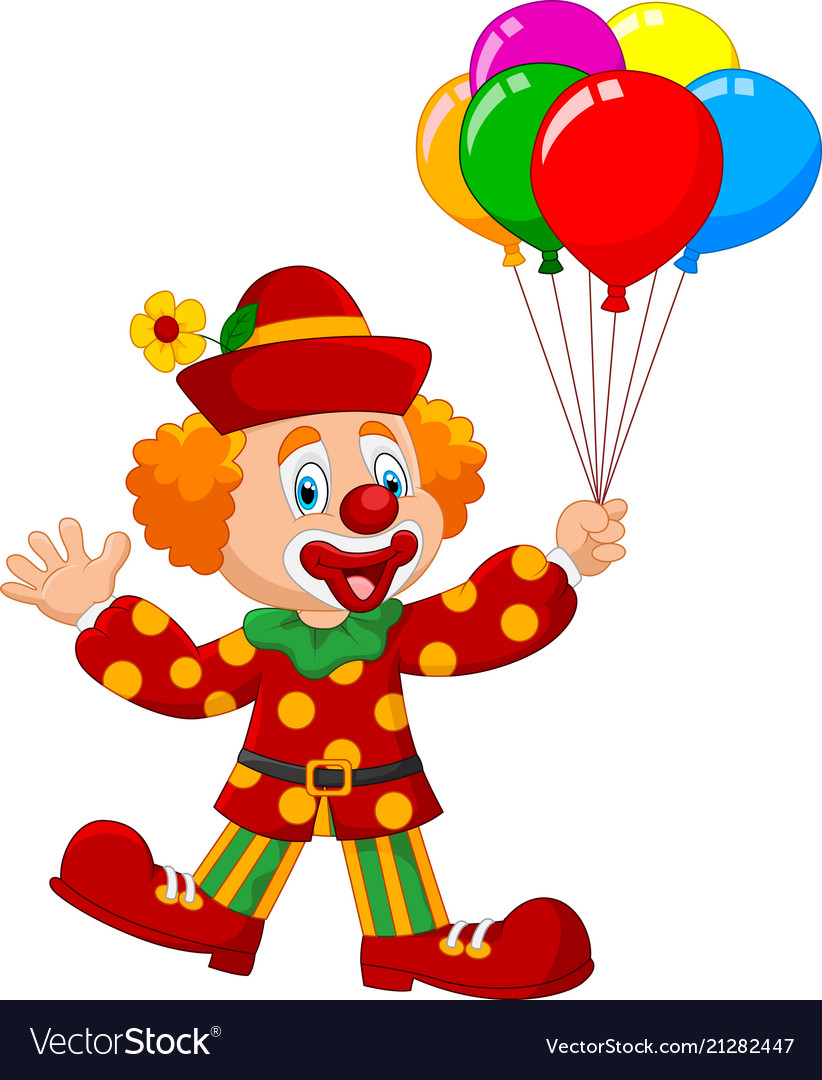 Adorable clown holding colorful balloon isolated o