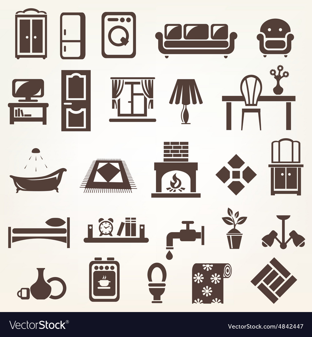 Big set of furniture and home related silhouettes