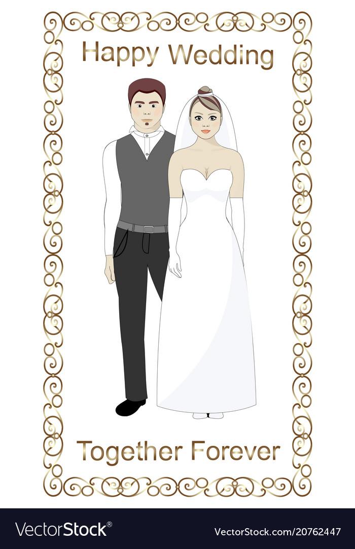 Bride and groom wedding golden frame