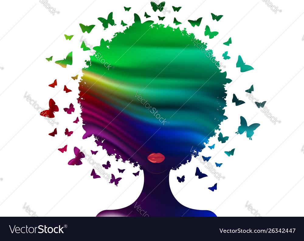Butterflies decorative colorful logo woman icon