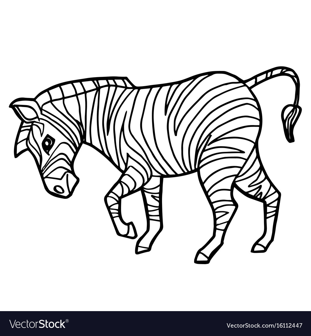 Cartoon Cute Zebra Coloring Page Royalty Free Vector Image
