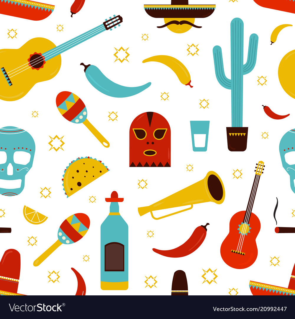 Colorful mexico seamless pattern with traditional vector image
