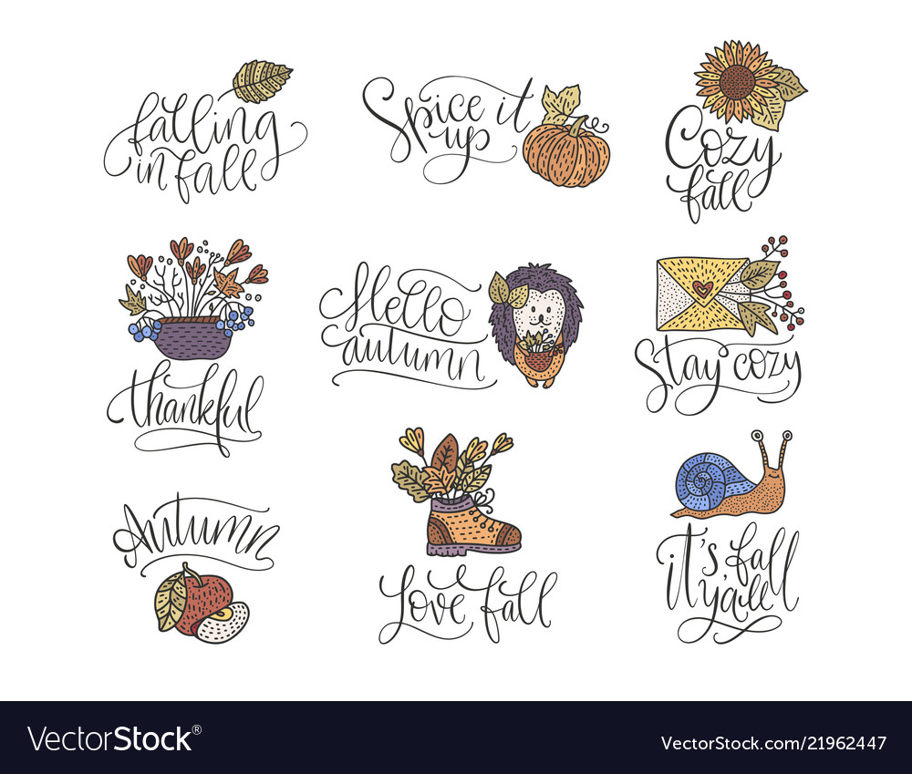 Cozy fall lettering set