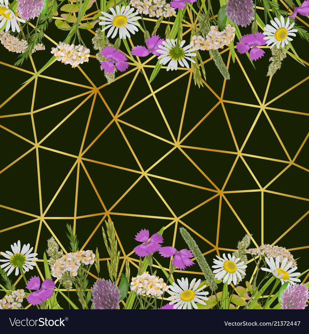 Geometric gold background with greenery