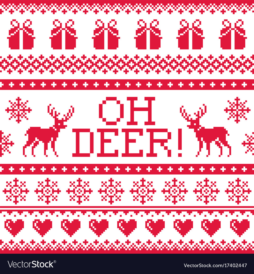 Oh deer red pattern christmas seamless design wi