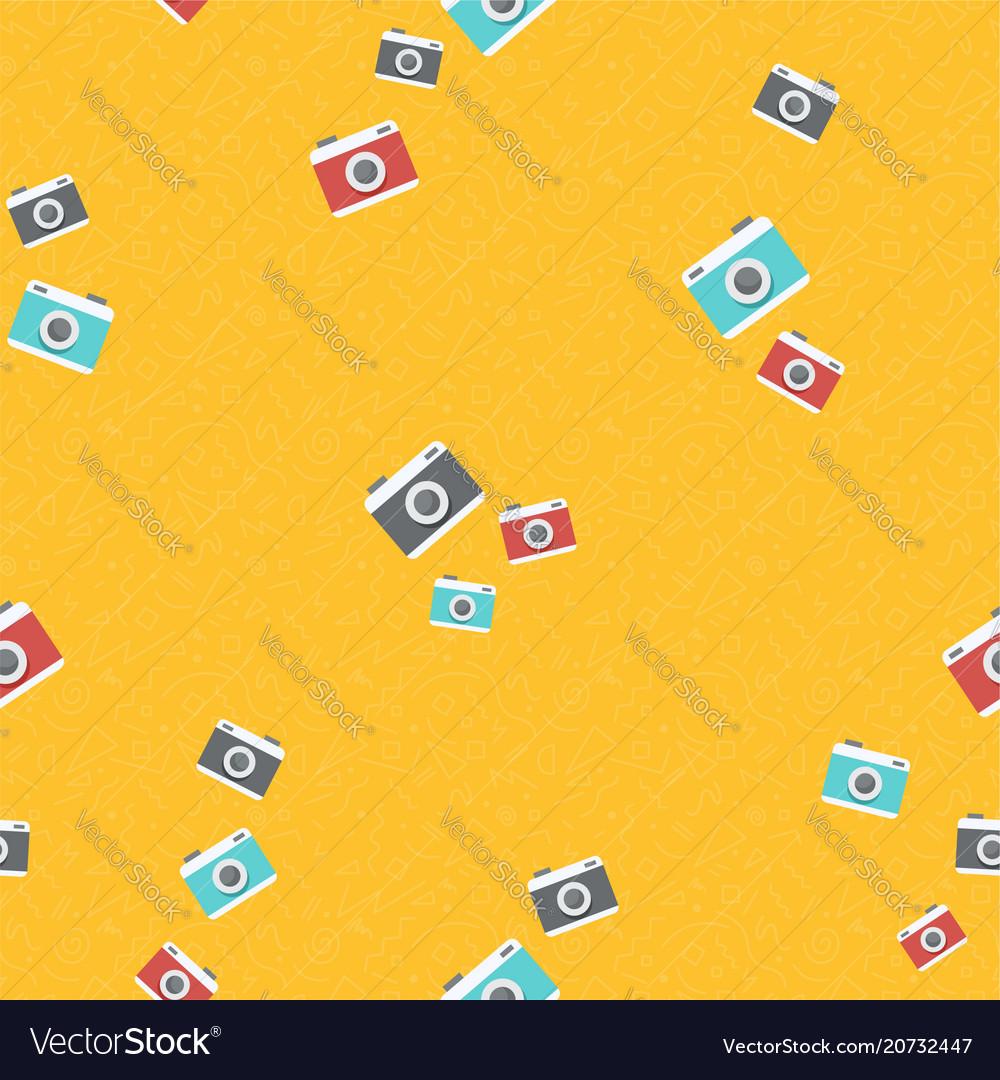 Retro photo camera background pattern art