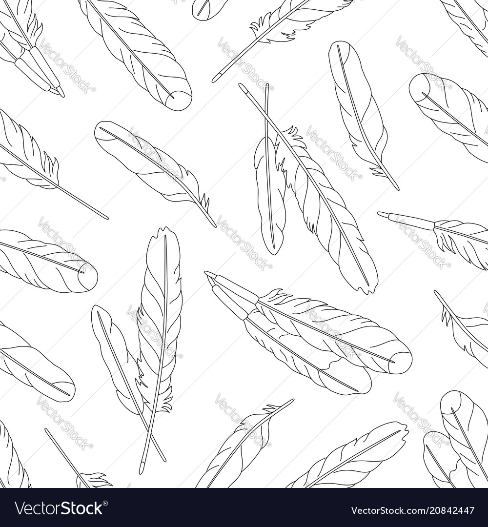 Seamless pattern with feathers on white background