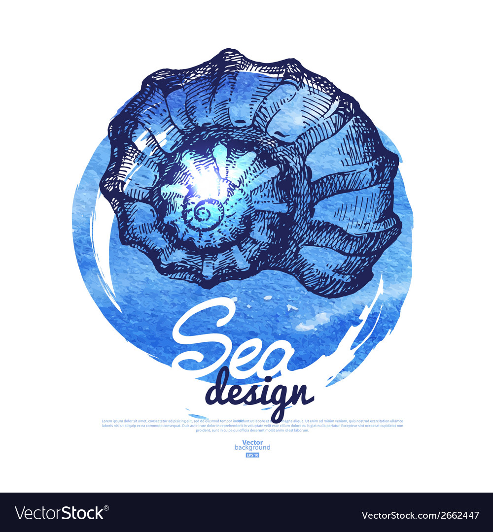Seashell banner Sea nautical design vector image