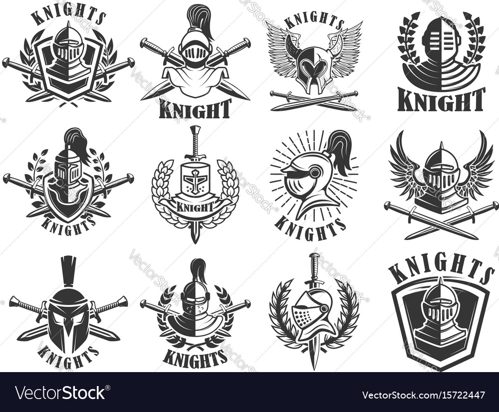 set of knight emblems design elements for logo vector image