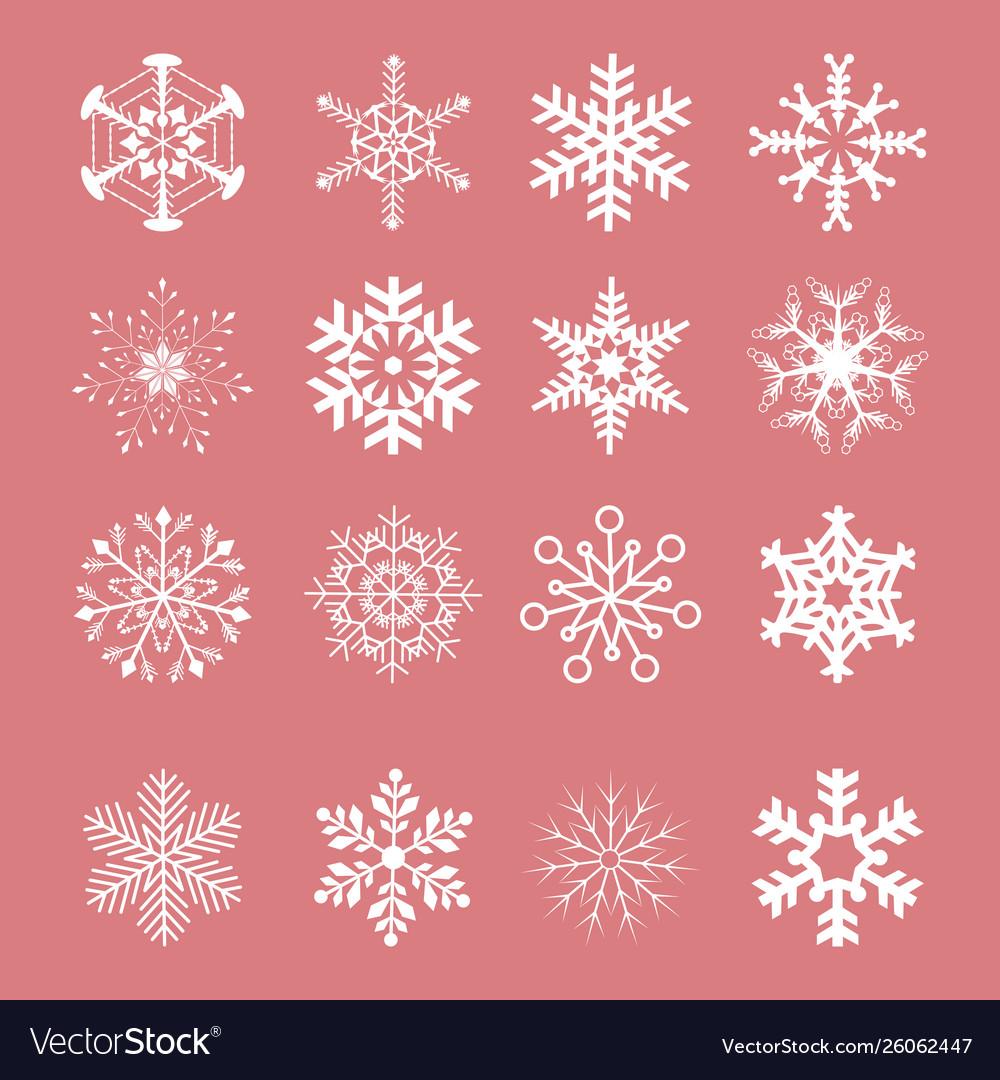 Snowflake winter set white isolated