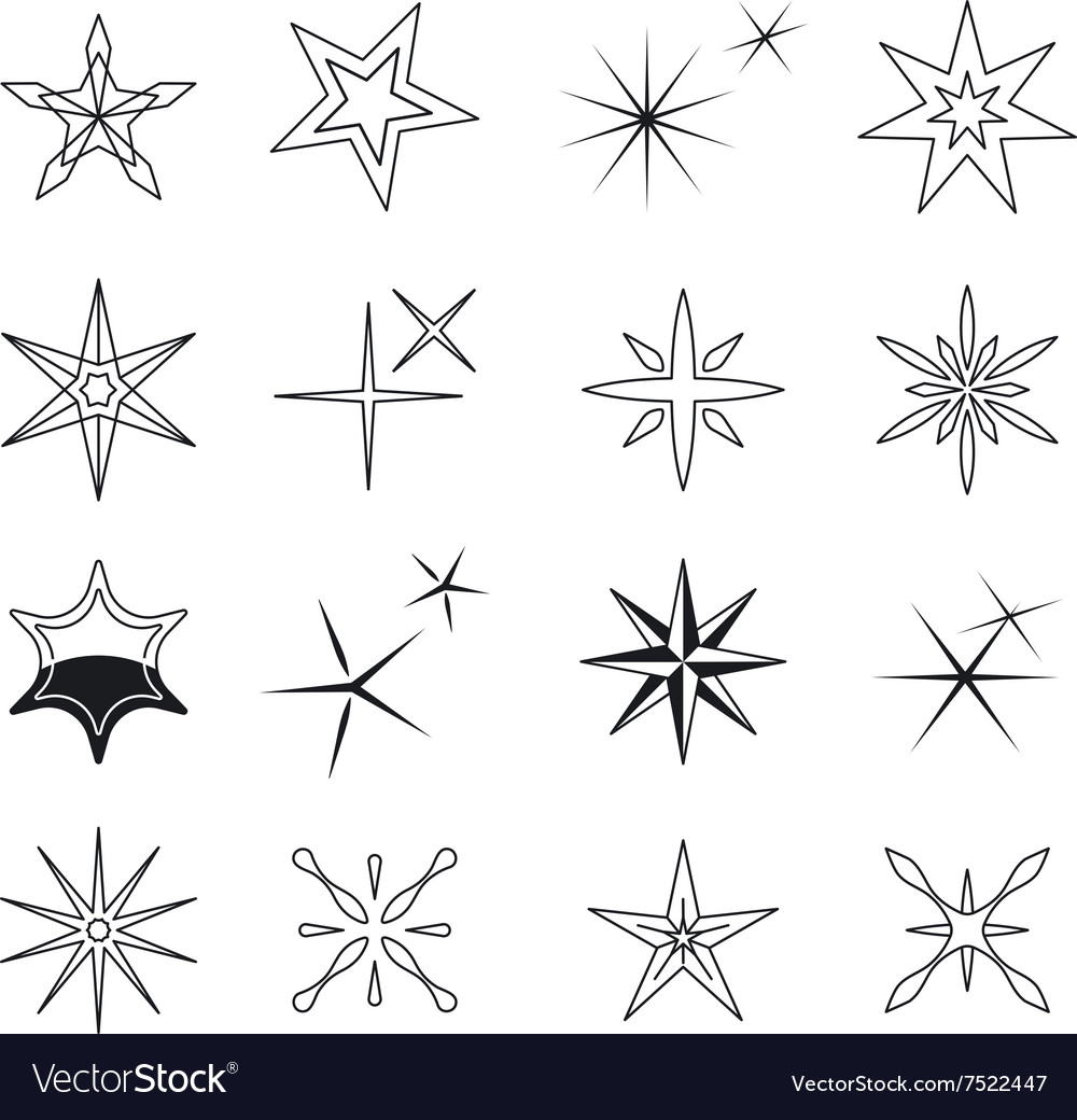Star icons black stars symbols on white