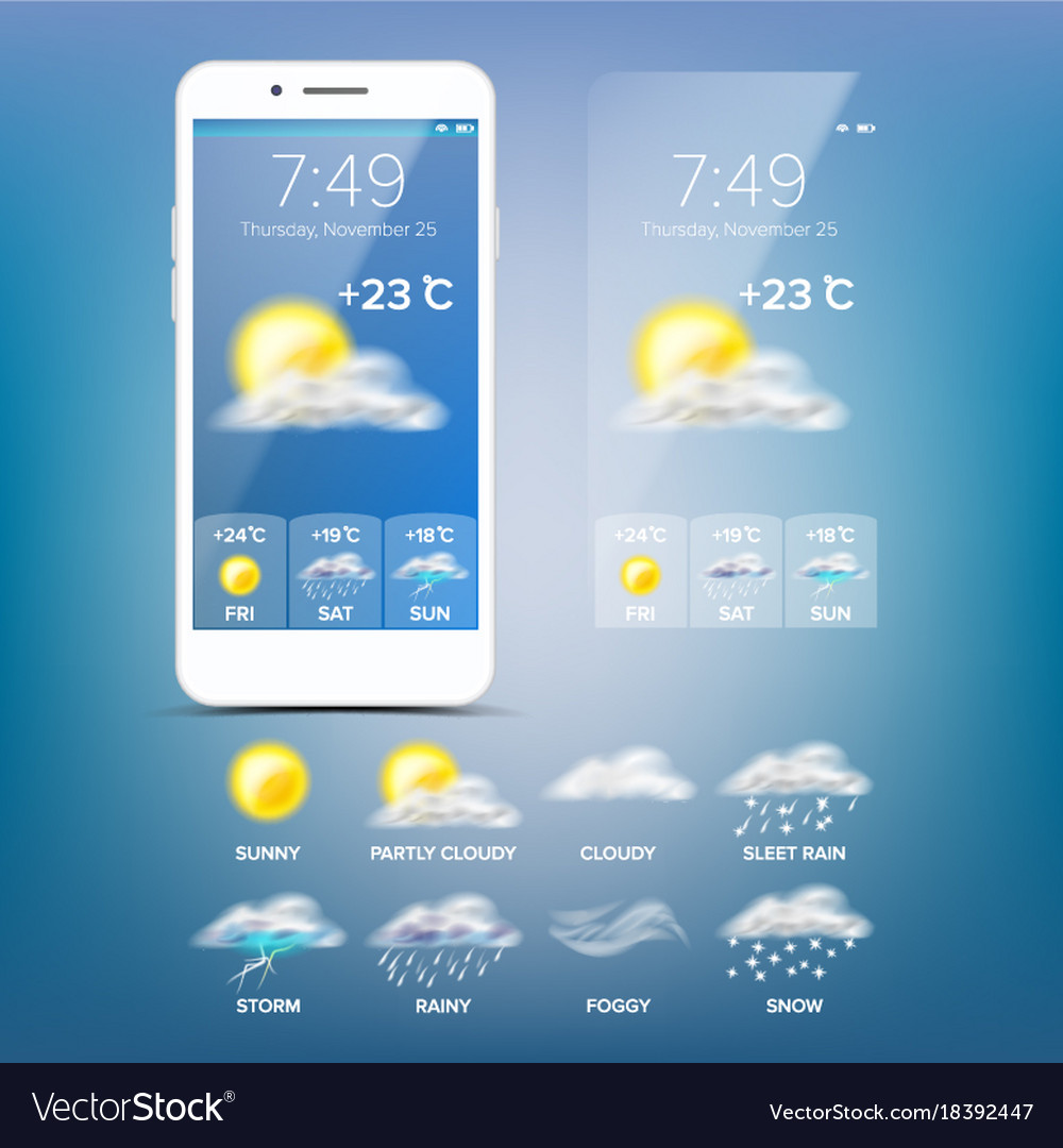 Weather forecast app blue background