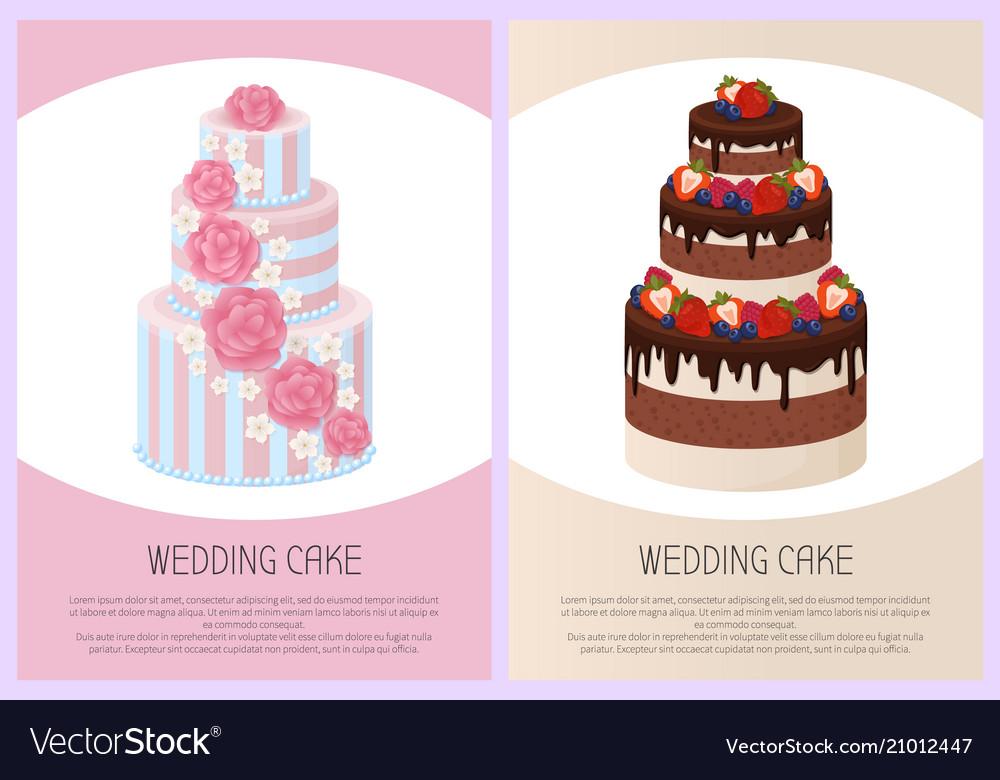 Wedding cakes set sweet bakery posters set vector image