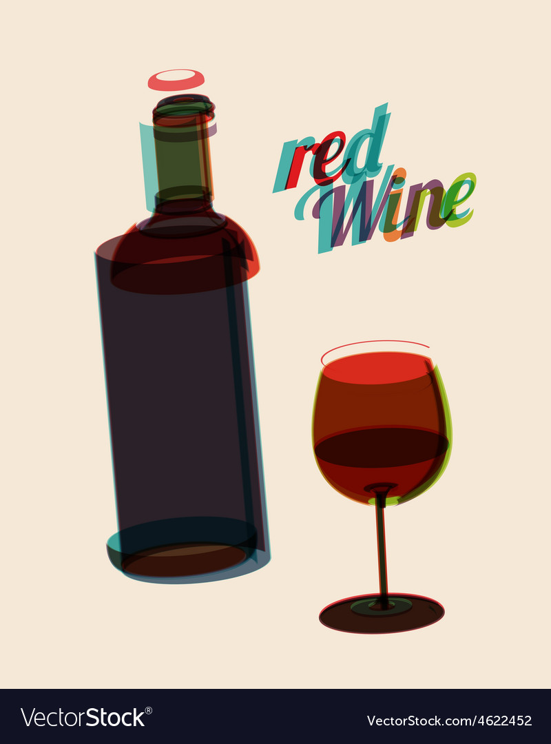 Abstarct vintage poster bottle of red wine