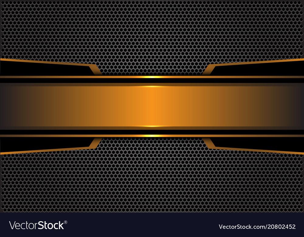 Abstract Gold Black Metal Banner Dark Gray Hexagon
