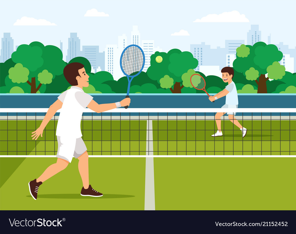 Cartoon father plays with son in tennis