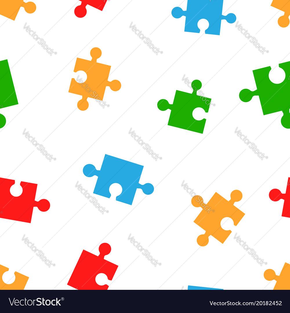 Colorful jigsaw puzzle seamless pattern