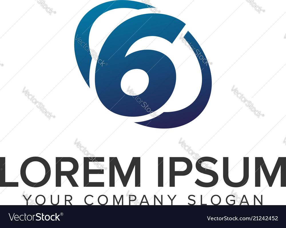 Creative modern number 6 logo design concept
