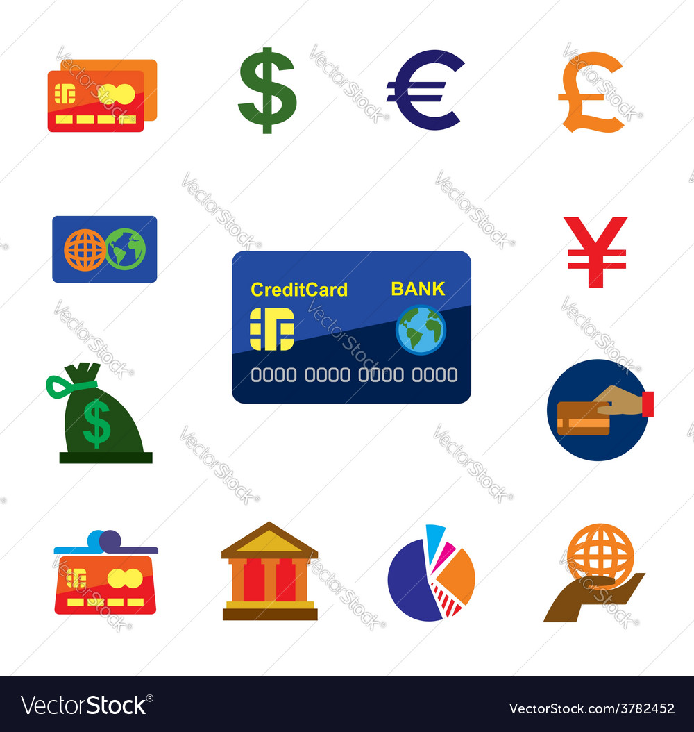 credit card icons royalty free vector image vectorstock rh vectorstock com Major Credit Card Logos Credit Card Logos for Website