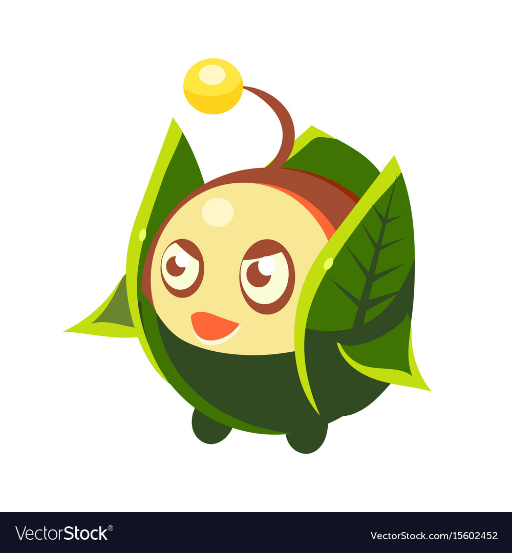 Cute fantastic plant character round shape with