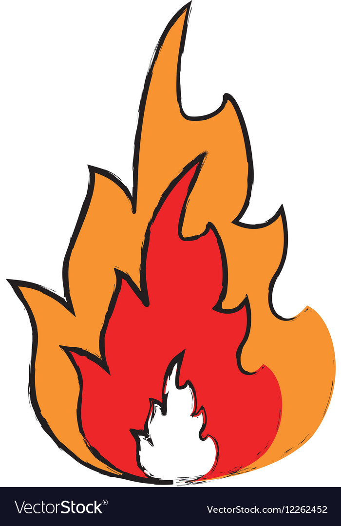 Drawing hot flame spurts fire design vector image