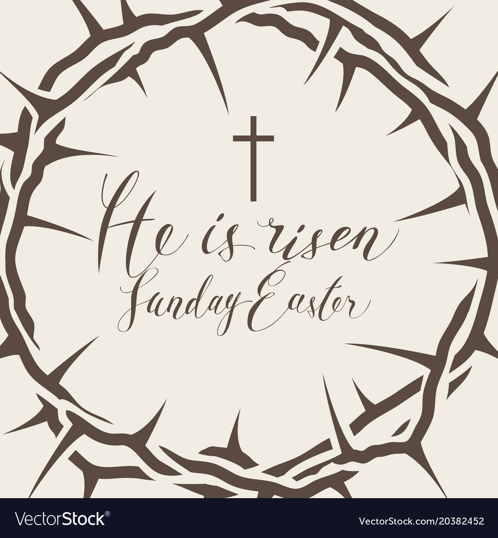 Easter banner with crown of thorns and inscription