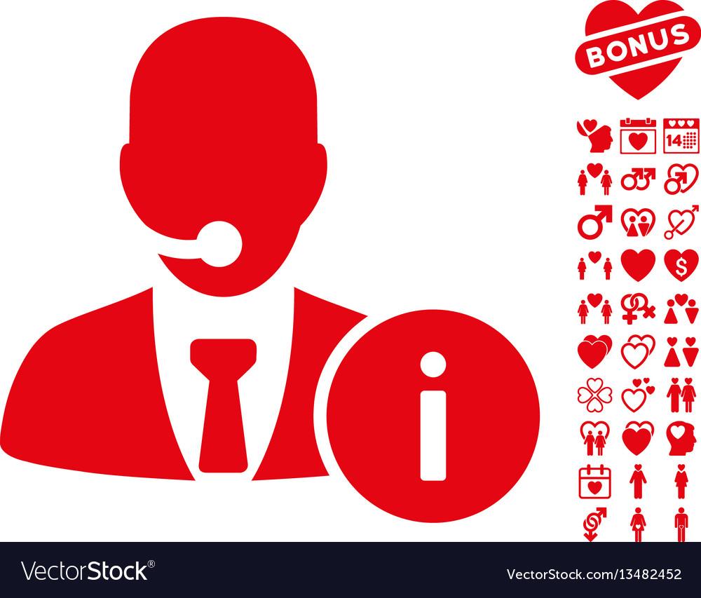 Help desk icon with valentine bonus
